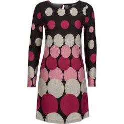 Długie sukienki: Sukienka dzianinowa w grochy bonprix czarno-matowy jasnoróżowy - jasnoszary - jeżynowo-czerwony
