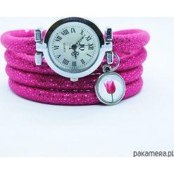 Zegarek, bransoletka - Tulipan - amarant. Szare bransoletki damskie na nogę marki Pakamera. Za 98,00 zł.