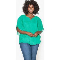 Bluzki asymetryczne: Gładka bluzka, rękawy motyle