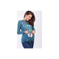 Bluzka dzianina ciążowe ciążowe z printem. Szare bluzki ciążowe marki TXM. Za 29,99 zł.
