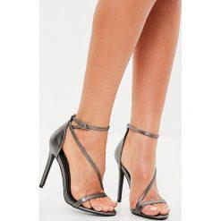 Missguided - Sandały. Różowe sandały damskie marki Missguided, z materiału, na obcasie. W wyprzedaży za 79,90 zł.