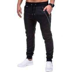 SPODNIE MĘSKIE DRESOWE P421 - CZARNE. Czarne spodnie dresowe męskie marki Ombre Clothing, m, z bawełny, z kapturem. Za 59,00 zł.