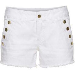 Bermudy damskie: Szorty dżinsowe z guzikami bonprix biały denim