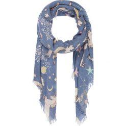"""Chusty damskie: Chusta """"Einhorn"""" w kolorze niebieskim ze wzorem – 140 x 140 cm"""