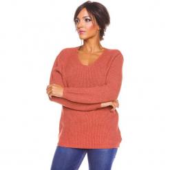 """Sweter """"Carmen"""" w kolorze rdzawym. Niebieskie swetry klasyczne damskie marki bonprix, na lato, w kwiaty, z asymetrycznym kołnierzem. W wyprzedaży za 173,95 zł."""