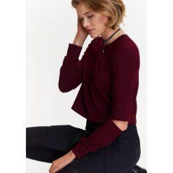 Bluzy damskie: BLUZA NIEROZPINANA DAMSKA Z OZDOBNYMI ROZCIĘCIAMI NA ŁOKCIACH