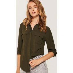 Gładka koszula - Khaki. Brązowe koszule damskie marki House, l. Za 59,99 zł.