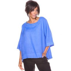 """Bluzki asymetryczne: Lniana koszulka """"Mael"""" w kolorze niebieskim"""