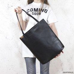 Shopper XL torba czarna na zamek. Czarne shopper bag damskie Pakamera, na ramię. Za 155,00 zł.