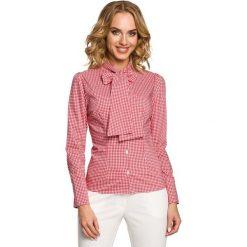 Koszula w Czerwoną Kratkę z Wiązaną Kokardą. Czerwone koszule damskie w kratkę marki Molly.pl, l, eleganckie, z kokardą, z długim rękawem. Za 99,90 zł.