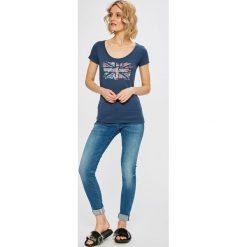 G-Star Raw - Jeansy D-Staq. Niebieskie jeansy damskie rurki marki G-Star RAW, z bawełny. W wyprzedaży za 479,90 zł.