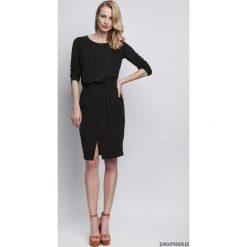 Sukienki asymetryczne: DZIANINOWA SUKIENKA Z KIESZENIĄ, SUK109 czarny