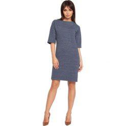 FENELLA Sukienka z jedną kieszenią - granatowy melanż. Niebieskie sukienki dresowe BE, l, melanż, z krótkim rękawem, mini, oversize. Za 129,99 zł.