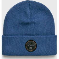Napapijri - Czapka. Niebieskie czapki zimowe męskie Napapijri, z dzianiny. W wyprzedaży za 149,90 zł.