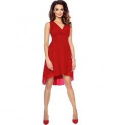 Czerwona Wyjściowa Sukienka z Kopertowym Dekoltem z Wydłużonym Tyłem. Brązowe sukienki balowe marki Mohito, l, z kopertowym dekoltem, kopertowe. Za 154,90 zł.