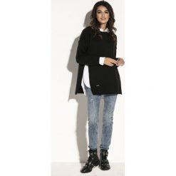Sweter z rozcięciem fb587. Czarne swetry klasyczne damskie Fobya, z golfem. Za 119,00 zł.