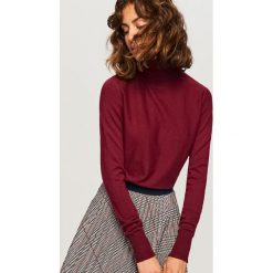 Golfy damskie: Sweter z golfem - Bordowy