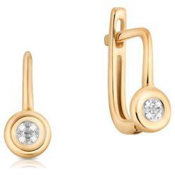 Piękne Kolczyki - , Diament 0,02ct. Żółte kolczyki damskie W.KRUK, z diamentem, złote. Za 1290,00 zł.
