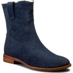 Botki NEŚCIOR - 013-A Granat Welur. Niebieskie buty zimowe damskie Neścior, ze skóry, na obcasie. W wyprzedaży za 249,00 zł.