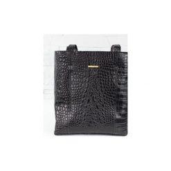 Skórzana Shopper Mudiwa czarny krokodyl. Czarne shopper bag damskie Fabiola, ze skóry, duże. Za 300,00 zł.