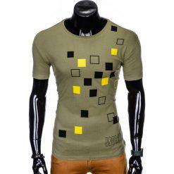 T-SHIRT MĘSKI Z NADRUKIEM S1000 - KHAKI. Brązowe t-shirty męskie z nadrukiem Ombre Clothing, m. Za 19,99 zł.