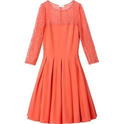 Długie sukienki: Sukienka trapezowa bez wzoru, z koronką