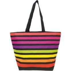 """Shopper bag damskie: Torba plażowa """"Playa"""" z kolorowym wzorem - 35 x 58 x 23 cm"""