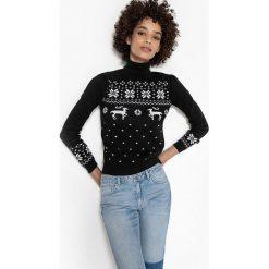 Sweter bożonarodzeniowy. Szare golfy damskie marki La Redoute Collections, m, z bawełny, z kapturem. Za 111,68 zł.