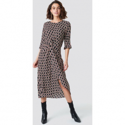 Rut&Circle Wzorzysta sukienka midi - Black,Multicolor. Czarne sukienki marki Rut&Circle, z materiału, midi. Za 202,95 zł.