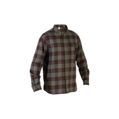 Koszula 100. Brązowe koszule męskie na spinki marki SOLOGNAC, xl, z bawełny. Za 79,99 zł.