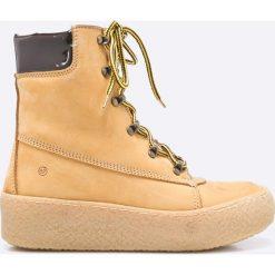 Sixtyseven - Botki Ebuck Amarillo. Szare buty zimowe damskie Sixtyseven, z gumy, z okrągłym noskiem, na obcasie, na sznurówki. W wyprzedaży za 299,90 zł.