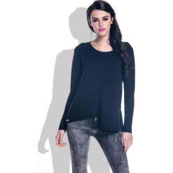 Bluzki, topy, tuniki: Czarna Bluzka z Wycięciem i Kieszenią na Przodzie