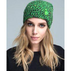 Czapka dziana KRAFF GREEN @30 handmade. Zielone czapki zimowe damskie Pakamera, z dzianiny. Za 109,00 zł.