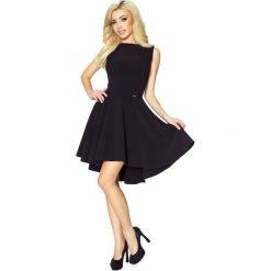 Odzież damska: Czarna Klasyczna Sukienka bez Rękawów z Szerokim Wydłużonym Dołem