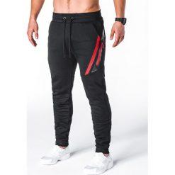 SPODNIE MĘSKIE DRESOWE P660 - CZARNE. Czarne spodnie dresowe męskie marki Ombre Clothing, z bawełny. Za 69,00 zł.