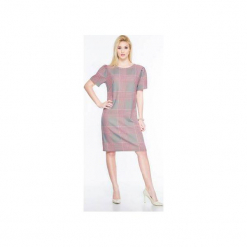 Luźna sukienka w kratkę SL2168. Czarne sukienki mini marki Soleil, na imprezę, s, w kolorowe wzory, z bawełny, z długim rękawem, dopasowane. Za 129,00 zł.