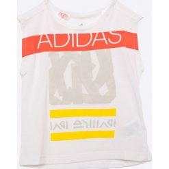 Adidas Performance - Top dziecięcy 104-140 cm. Szare bluzki dziewczęce marki adidas Performance, z nadrukiem, z dzianiny, z okrągłym kołnierzem. W wyprzedaży za 59,90 zł.