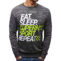 Bluzy męskie: Bluza męska z nadrukiem camo antracytowa (bx3477)