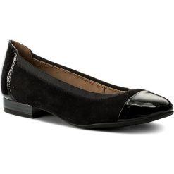 Baleriny CAPRICE - 9-22152-29 Black Sue.Comb 033. Czarne baleriny damskie zamszowe marki Caprice, na płaskiej podeszwie. W wyprzedaży za 179,00 zł.