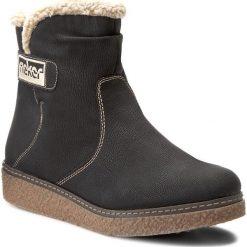Botki RIEKER - Y4084-00 Black Combination. Czarne buty zimowe damskie marki Rieker, z materiału. W wyprzedaży za 189,00 zł.