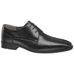 Buty męskie do garnituru AM SHOE czarne. Czarne buty wizytowe męskie AM SHOE, z gumy, na sznurówki. Za 139,00 zł.