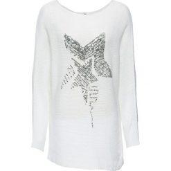 Swetry klasyczne damskie: Sweter z aplikacją z cekinów bonprix biały