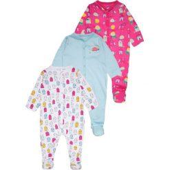 Mothercare GIRLS HOUSE SLEEPSUITS BABY 3 PACK  Piżama brights multicolor. Szare bielizna dziewczęca mothercare, z bawełny. Za 129,00 zł.