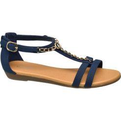 Sandały damskie Graceland granatowe. Czarne sandały damskie marki Graceland, w kolorowe wzory, z materiału. Za 89,90 zł.