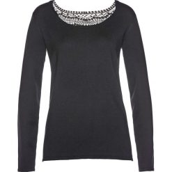 Swetry klasyczne damskie: Sweter z koronką bonprix czarny