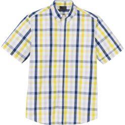 Koszule męskie na spinki: Koszula z krótkim rękawem w kratę Regular Fit bonprix biało-żółto-niebieski w kratę