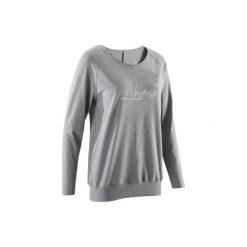 Koszulka długi rękaw do jogi damska. Czarne t-shirty damskie marki DOMYOS, z elastanu. W wyprzedaży za 39,99 zł.