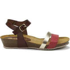 Rzymianki damskie: Skórzane sandały w kolorze brązowo-czerwono-srebrnym