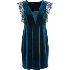 Sukienki: Sukienka aksamitna z koronką bonprix ciemnoszmaragdowy