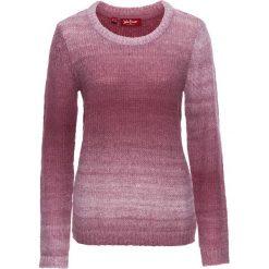 Swetry klasyczne damskie: Sweter, długi rękaw bonprix jagodowo-biały